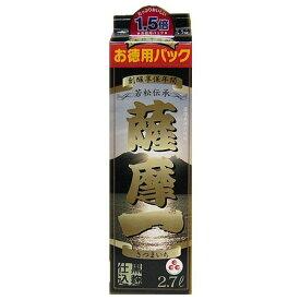 【あす楽!!送料無料!!】鹿児島 若松酒造 薩摩一 本格芋焼酎 25度 2.7Lパック(2700ml)1ケース(4本入)