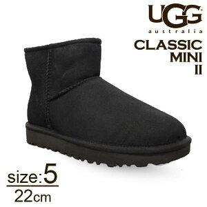UGG アグ クラシックミニ II ムートンブーツ ウィメンズ ブラック 5(22cm) 1016222 Classic Mini【送料無料】