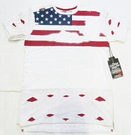 AR13)HERITAGE AMERICAアメリカンフラッグロングレングスTシャツ半袖(HA-KT-150)白★USLANYカジュアルストリートHIPHOPB系【送料無料】