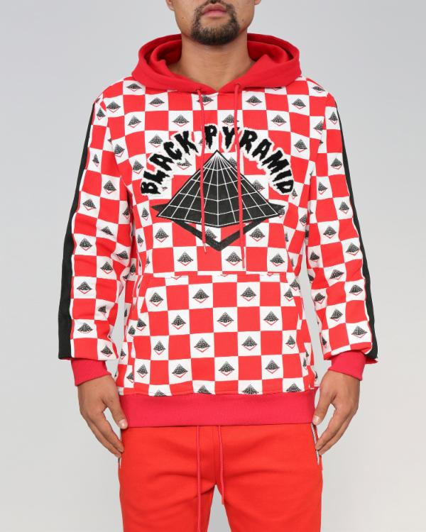 BLACK PYRAMID CHECKERプルオーバーパーカー(Y4161605)RED/ブラックピラミッド/クリスブラウン/AY21★US購入B系HIPHOPカジュアルストリートセレブ【送料無料】