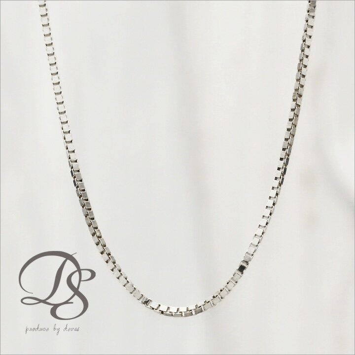 【K18ホワイト】K18WHゴールドネックレス18k 18金ホワイトゴールド ベネチアンチェーン スライド 調整式 ネックレス DEVAS ディーヴァス(チェーンネックレス シンプル ゴールド レディース チェーン プレゼント)