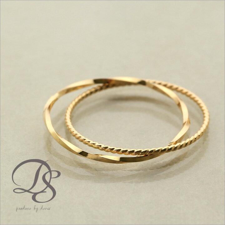 18金 リング ピンキーリングK18 ゴールド 2連(スパイラルxねじれ)華奢なデザインの2連がシンプルでオシャレ(18k/18金・指輪) DEVAS ディーヴァス 誕生日 プレゼント ギフト レディース ピンキー リング ゴールドリング ジュエリー