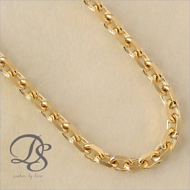 18金 ネックレス メンズ チェーン ネックレス 2.35mm幅 4面カット あずき K18 ネックレス シンプル 18k ネックレス ゴールド 45cm 47cm 50cm 60cm