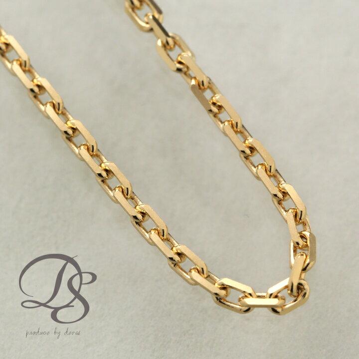 ゴールド ネックレス チェーン ロング メンズ k18 18金 カットあずきチェーン 幅1.75mm 4面カット ゴールド チェーン ネックレス シンプル プレゼント 送料無料 DEVAS
