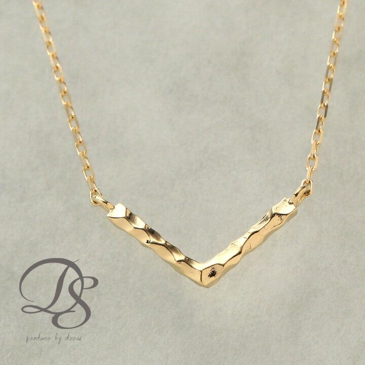 ゴールドネックレス Vバー 選べるサイズ展開 アジャスターカン付 ゴールド ネックレス k18 18金 gold necklacek 18Kネックレス K18ネックレス おしゃれ 大人 シンプル 誕生日 プレゼント ギフト 送料無料 DEVAS ディーヴァス