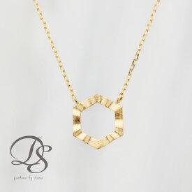 4476d307d19dbb ゴールドネックレス K18 レディース 六角形モチーフ リバーシブルで使える 18k 18金 ゴールド ネックレス ヘキサゴン