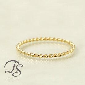 18金 ピンキーリング K18 リングゴールドリング 極細 レディース スパイラル 華奢 ゴールド 細め 細い 大人18k 18金 指輪 プレゼント 誕生日 妻 彼女 かわいい 可愛い贈り物 誕生日プレゼント DEVAS ディーヴァス ギフト