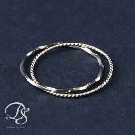 プラチナ リング 指輪 ピンキーリングPT 2連(スパイラル&ねじれ)Pt850 華奢なデザインの2連がシンプルでオシャレ DEVASディーヴァス 誕生日 プレゼント レディース ピンキーリング リング ジュエリー