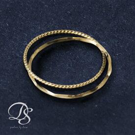 18金 リング ピンキーリングK18 ゴールド 2連(スパイラルxねじれ)華奢なデザインの2連がシンプルでオシャレ(18k/18金・指輪) DEVAS ディーヴァス 誕生日 プレゼント レディース ピンキー リング ゴールドリング ジュエリー
