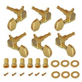 6個入 ギターマシンヘッド チューナーペグ ネジ/ブッシュ付き エレキ/アコースティックギター用 3L&3R ゴールデン