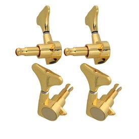 4個入 チューニングペグ マシンヘッド 糸巻き 4弦 ベース用 2L2R メタル製 ゴールド