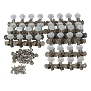 5セット マンドリンマシンヘッド チューニングペグ ホワイトボタン 1L1R メタル製 シルバー