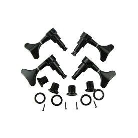 4個入 チューニングペグ マシンヘッド 4弦ベース用 交換 鰭形ボタン 2L2R メタル製 ブラック