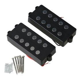 5弦ベース用ピックアップセット ハムバッカー ベースアクセサリ 12k プラスチックカバー ブラック