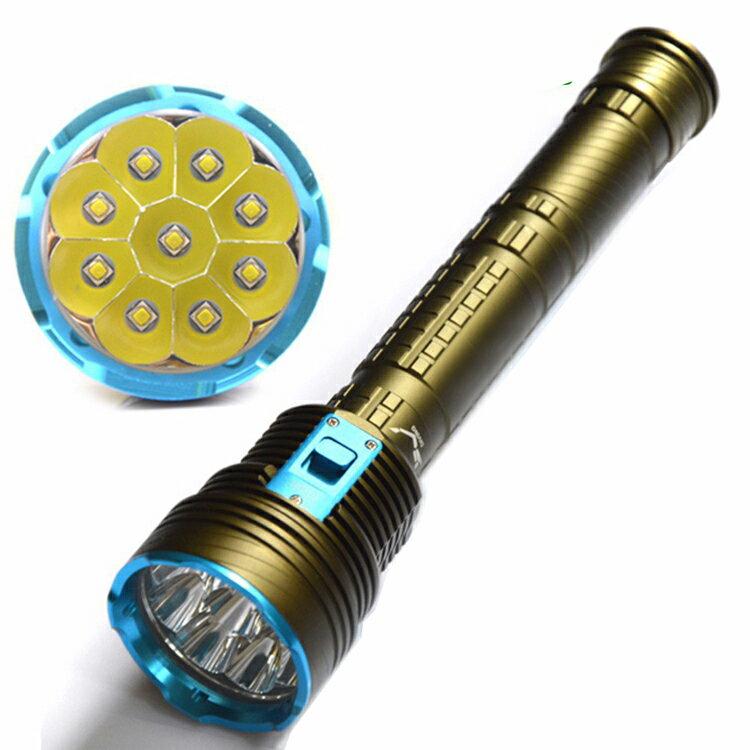 Diving Flashlight 9x CREE xm-l2 ledダイビングライト 14000 ルーメン+2本用充電器+正規品TrustFire 保護回路付き18650リチウムイオン電池(3400mAh)* 3 付+2本用充電器付き