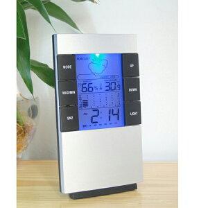 デジタル温湿度計 温湿度計・温度計・湿度計・時計・カレンダー機能・目覚まし時計・LCDバックライト・ディスプレイ天気/予報機能付き・置き掛け壁掛け兼用・最高/最低温度、最高/最低湿