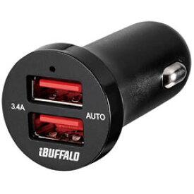 BUFFALO(バッファロー) 3.4A シガーソケット用USB急速充電器 AUTO POWER SELECT機能搭載 2ポートタイプ (ブラック) BSMPS3402P2BK BSMPS3402P2BK