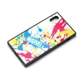 MARVEL マーベル iPhone XS X ガラスハイブリッドケース スプラッシュロゴ ホワイト