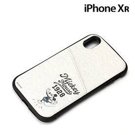 ディズニー iPhone XR タフポケットケース ミッキーマウス グレー pg-dcs694mky