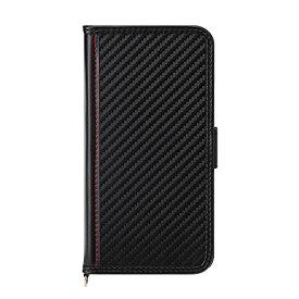 iPhone 12 /12 Pro用 6.1インチ フリップカバー PUレザーダメージ加工 カーボン調ブラック 2020 PG-20GFP04BK