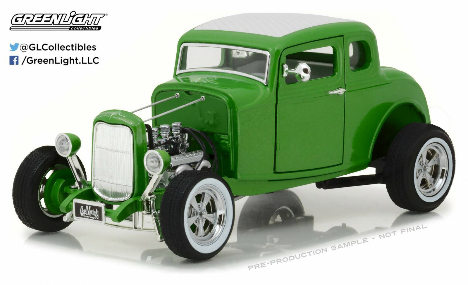 "テレビドラマ「Fast N Loud」1:18 1932年モデル フォード メタリックグリーン 1932 Ford Custom Hot Rod Green ""Gas Monkey Garage"" 2012 TV Series 1/18 Diecast Car Model by Greenlight USA"