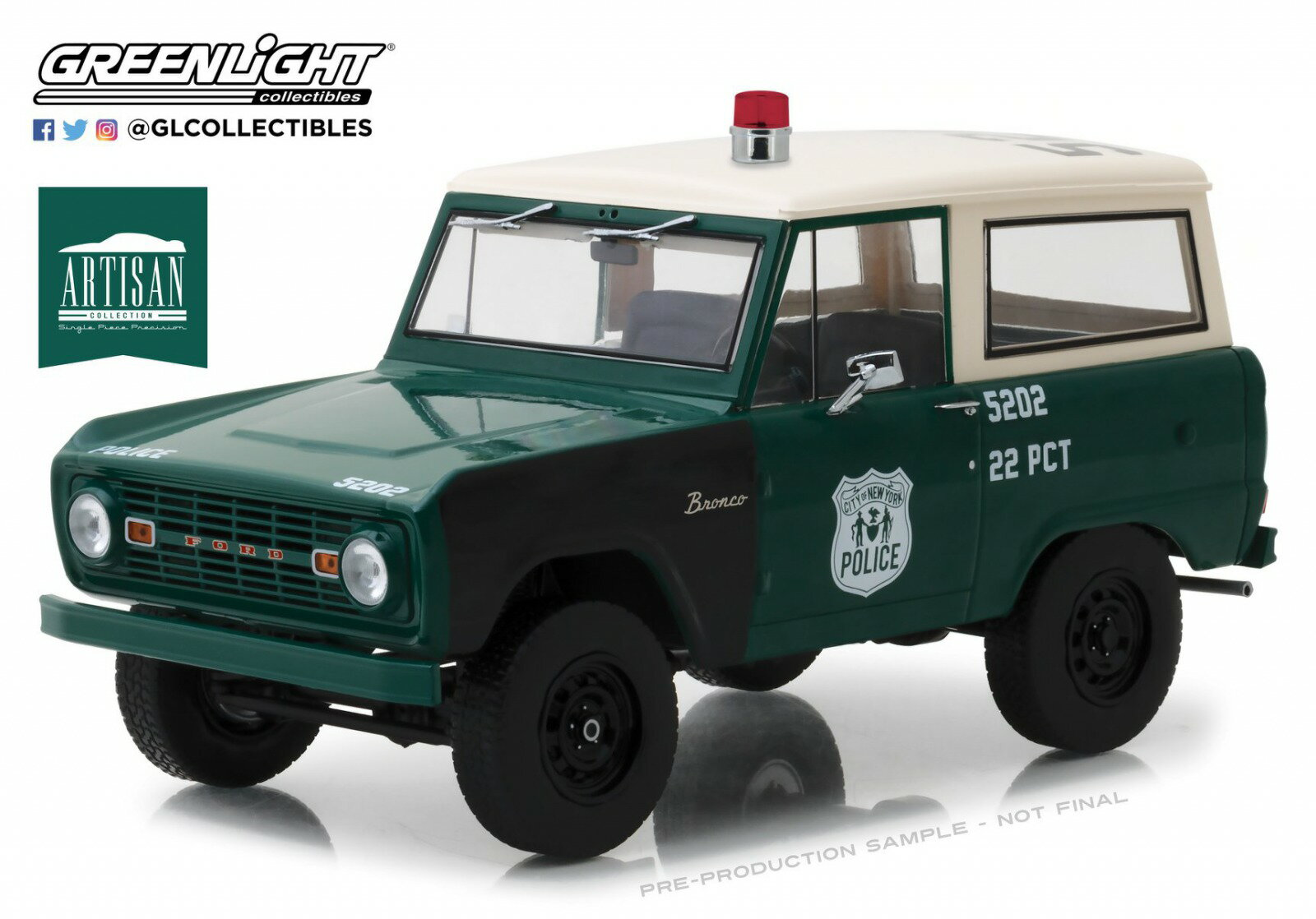 Greenlight 1:18 1967年モデル フォード ブロンコ ニューヨーク市ポリス NYPD1967 Ford Bronco New York City Police Department (NYPD) Artisan Collection