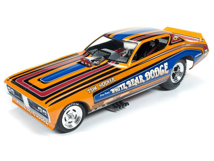 1971年 ダッジ チャージャー ファニーカー Tom HooverAuto World White Bear Dodge 1971 Dodge Charger F/C (Legends of the 1/4 Mile) - Tom Hoover 1:18 Scale Diecast