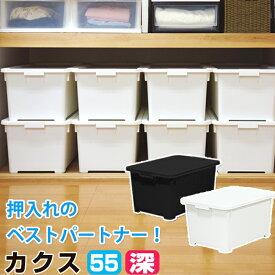 【衣替え】JEJ 収納ボックス フタ付き 押入れ収納 衣装ケース 収納ケース 限定カラーカクス 55深 コロ付 中が透けない