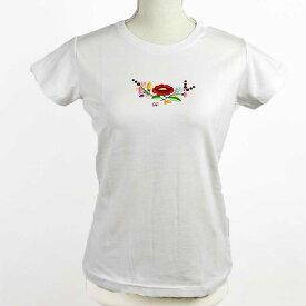 刺繍入Tシャツ ハンドメイド 白 花模様 Mサイズ ファッション ハンガリー 刺繍 カロチャ レディース 春ファッション デニムに似合う