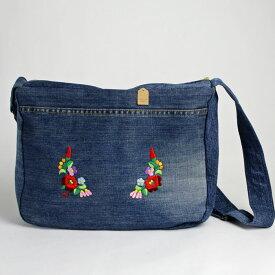 刺繍入り ハンドメイド カバン バッグ レディース 花模様 ファッション ハンガリー刺繍 カロチャ デニム