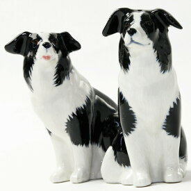 Border Collie S&P ボーダーコリーのソルト&ペッパーセット 犬 愛犬 ペット イギリス Quail Ceramics 動物 置物 オブジェ インテリア 北欧 モダン 磁器製 犬好きボーダーコリー