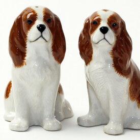 キャバリア・キングチャールズスパニエルの塩コショウ入れ イギリス Quail Ceramics 動物 置物 オブジェ インテリア 北欧 モダン 磁器製 ヨーロッパ市場向け製品 犬好き わんこ