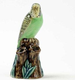 セキセイインコの置物 小花入れ イギリス Quail Ceramics 動物 置物 オブジェ インテリア みどり 磁器製 いんこ