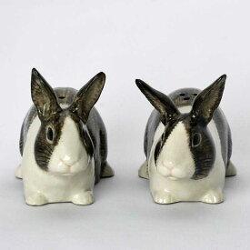 Dutch Rabbit grey and white S&P ソルト&ペッパーセット イギリス Quail Ceramics 置物 オブジェ インテリア 北欧 モダン 磁器  ヨーロッパ  ペット  うさぎ