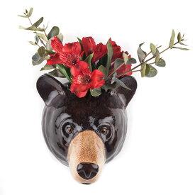 Black Bear Wall Vase くまの壁掛け イギリス QuailQuail Ceramics アニマルヘッド アニマル雑貨 動物 置物 オブジェ インテリア 磁器製 花瓶 くま クマ 熊 BlackBear