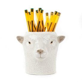 羊のペン立て Southdown Sheep Pen Pot イギリス Quail Ceramics 動物 置物 オブジェ インテリア アニマル雑貨 動物雑貨 ヨーロッパ雑貨 北欧 モダン 磁器製 ヨーロッパ市場向け製品 動物好き 羊 ひつじ