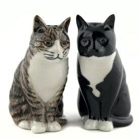 Millie&Julius S+P 猫の塩コショウ入れ セット Quail Ceramics クエイル 猫雑貨 猫グッズ 塩胡椒入れ 雑貨 インテリア 猫 ネコ ねこ おしゃれ おもしろ アニマル 海外 輸入 北欧 陶器 プレゼント ギフト 誕生日 記念日