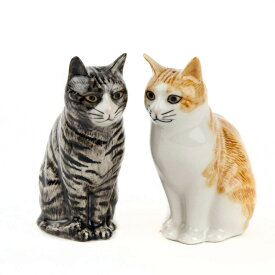 Patience&Squash S+P 猫の塩コショウ入れ セット Quail Ceramics クエイル 猫雑貨 猫グッズ 塩胡椒入れ 雑貨 インテリア 猫 ネコ ねこ おしゃれ おもしろ アニマル 海外 輸入 北欧 陶器 プレゼント ギフト 誕生日 記念日