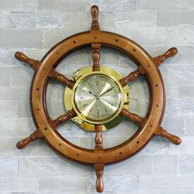 舵輪と時計の壁飾り 舵輪 壁飾り 壁掛け ラット 舵 海 ドイツ・Seaclub マリン マリンテイスト 西海岸 アンティーク風 船 ビーチハウス レストラン バー