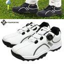 FOURSENSE フォーセンス ゴルフシューズ ダイヤル式 スパイクレス メンズ 靴