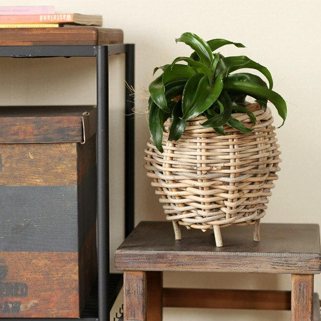 風合いが可愛い☆植物を引き立てるグレイラタンのバスケット(足付き型)4号苗向け※植物は使用例です。商品には含まれません。【藤カゴ 鉢カバー 1231 sm】