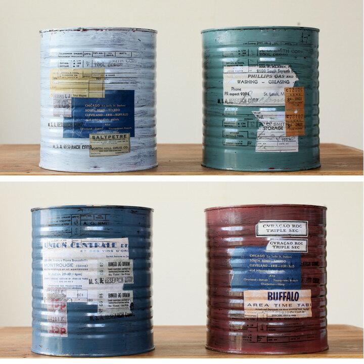 デザイナーさんがひとつ、ひとつ手作り!ナチュラル&アンティーク雑貨JUNK風スチール缶×1つ※植物は別売りです。【雑誌にでてそうなアンティーク風の鉢カバー】