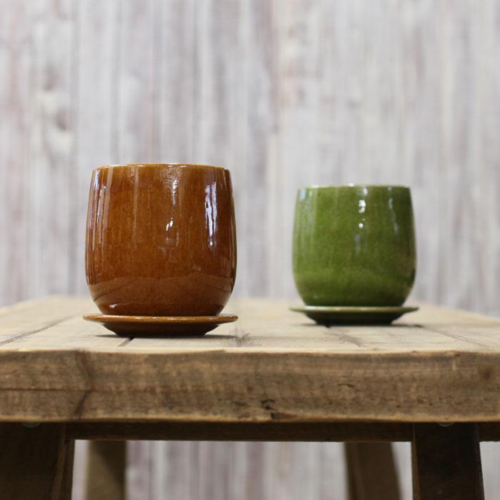 和洋共に馴染む,さりげない演出家ほわ〜んとした何とも言えない、優しい丸みの陶器鉢(S)【直径13cm(口径は10.5cm)×高さ13.2cm】※植物は商品には含まれません