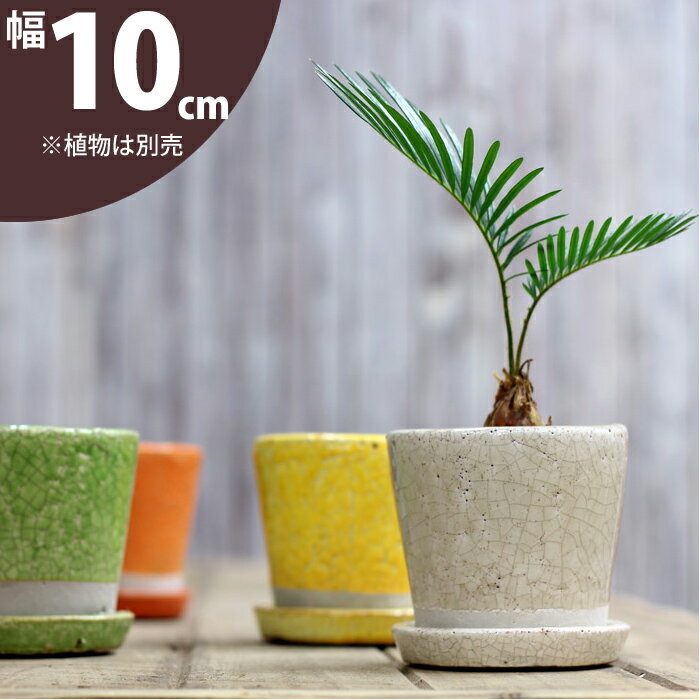 【植木鉢】貫入加工・ポップ&JUNK風 カラー陶器鉢 Sサイズ【植木鉢 2.5号〜3号ポット向け おしゃれ】