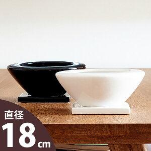【おしゃれな植木鉢】お皿のような陶器鉢(18cm)白mu cb42