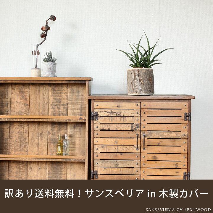 ●完売御礼!お届けは6/23〜【送料無料】サンスべリア・ファーンウッドを、風合い良い、木製の鉢カバーに入れて。