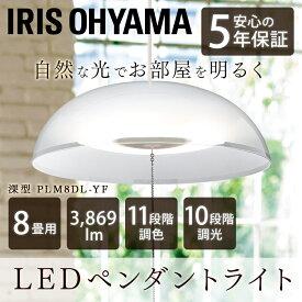 洋風LEDペンダントライト ペンダントライト 洋風 洋室 メタルサーキット 深型 8畳調色 PLM8DL-YF 送料無料 LEDペンダントライト 深型 8畳 調光 調色 LEDシーリングライト シーリングライト LED照明 LED 照明 アイリスオーヤマ