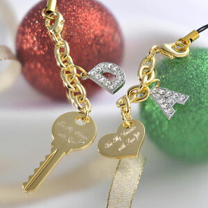 【名入れ専門】【名入れ プレゼント】 【カップルペアセット】ハートと鍵のペアセット-イニシャルチャームセット