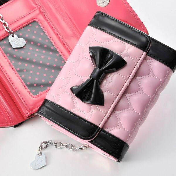 【名入れ専門】【名入れ プレゼント】キルティングリボン3つ折財布