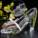 【名入れ専門】名入れ プレゼント】 【文字彫刻込】シンデレラ ガラスの靴(クリスタル製)&バタフライゴージャスチャーム付